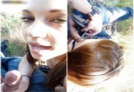 Jessica novinha tarada mamando e bebendo porra no quintal de casa